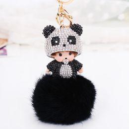 Chinese  Kawaii Monchhchi Doll with Panda Cap Fur Fluffy Ball Rhinestone Keychain Car Keyring Women's Kid's Handbag Pendant Charms Best Gift manufacturers