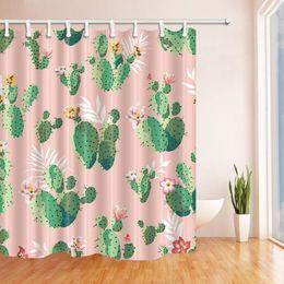 $enCountryForm.capitalKeyWord Canada - Cactus Shower Curtain Bathroom Decor Green Plant Flower Waterproof Polyester Fabric Home Bath Accessories Curtains Sets 70 X 70 Inch Pink