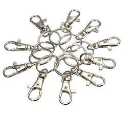 Metal Key Ring Clip Canada - 100pcs lot Classic Key Chain Ring Silver Metal Swivel Lobster Clasp Clips Key Hooks Keychain Split Ring DIY Bag Jewelry