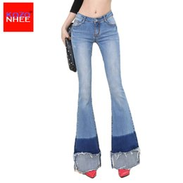 $enCountryForm.capitalKeyWord Canada - Wholesale- Elastic Ripped Women Flare Jeans Long Bell-Bottoms Jeans Stretching For Girls Trousers for women Jeans Large Size