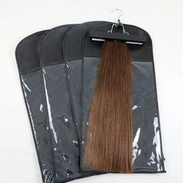 Venta al por mayor de Extensiones de cabello Embalaje Bolsa de embalaje Paquete a prueba de polvo Bolsa con percha para clip para cabello humano cabello humano.