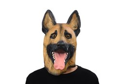 Barato Vestido De Fantasia De Cachorro Para Adultos-Cabeça de cão Máscara de látex Máscara de rosto completo Adulto Máscara de Halloween respirável Fancy Dress Party Cosplay Costume Police Mascaras de animais