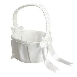 $enCountryForm.capitalKeyWord Canada - Ivory Bow Wedding Ceremony Party Love Case Satin Flower Girl Basket Wedding Decoration Wedding Supplies