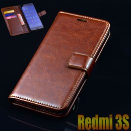 Discount redmi mobile cases - Wholesale- xiaomi redmi 3S 3 s case cover luxury leather flip Phone Bags for xiaomi redmi 3 pro ultra thin wallet cover