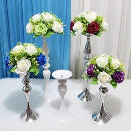 Discount flower candlestick - Upscale Wedding Candle Holder 30 35 45cm 110cm silver plated Romantic Standing Wedding Candlestick Wedding Flower Stands