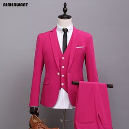 Barato Terno De Casamento Coreia-Atacado- AIMENWANT 2017 Primavera Coréia Fitted Boyfriend Blazer Mens Single Breasted Rose Wedding Suit Set (Jacket + Vest + Pants) Ternos de 3 peças