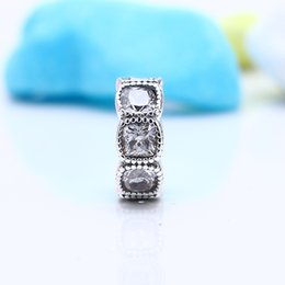 100% Real 925 Sterling Silver Not Plated Clear Round Spacer Charms European Charms Beads Fit Pandora Bracelet Clip DIY Jewelry on Sale
