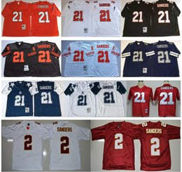 Barato Sander Grossista-Florida Estado Seminoles Colégio 2016 NCAA FSU # 2 Deion Sanders Jerseys NWT Throwback # 21 Deion Sanders Jersey Atacado Baratos Stitched Mens