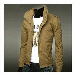 cf44323cb8e Winter Autumn Casual Man Jacket Collar British Style Male Korean Thin  Section Solid Color Coat jaqueta masculina