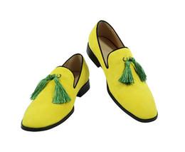 $enCountryForm.capitalKeyWord Canada - 2017 fashion brand design tassel flat heel men dress shoes yellow wedding nubuck leather business shoes for man high quality loafers flats