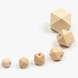 $enCountryForm.capitalKeyWord UK - 100pcs lot Loose Beads Organic Beech Wood Unfinished Geometric Beads Wooden Octagon Baby Teether DIY Beads 10 12 14 16 18 20 mm