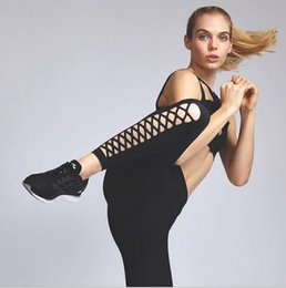 $enCountryForm.capitalKeyWord Canada - Europe United States fashion women's wear black bandage tight yoga leggings black with mesh sexy lady gym sports casual pencil pants