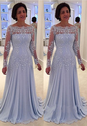 brides mom silver dress 2018 - Latest Long Sleeve Chiffon Mother of the Bride Dresses Appliques Beaded Mother Evening Prom Dresses Gowns Mom Dresses ch