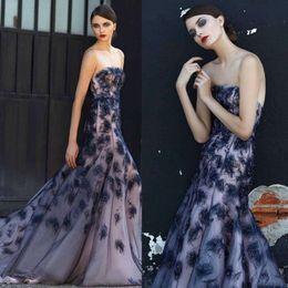 $enCountryForm.capitalKeyWord Canada - Luxury Ellie Saab Feathers Dresses Evening Wear Strapless Backless Mermaid Party Gowns Sweep Train Formal Dress