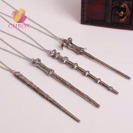 harry voldemort wands NZ - Wholesale- Vintage Necklace Harry Dumbledore Voldemort Hermione Ron Wand Potter Pendant Necklace Elder Wand Necklace Key Chain