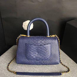 Genuine Snake Leather Bags NZ - 2017 New women Snake skin Classic Double Flap bag best quality chain shoulder bag A93050 Luxury famous brand genuine leather handbag 25cm