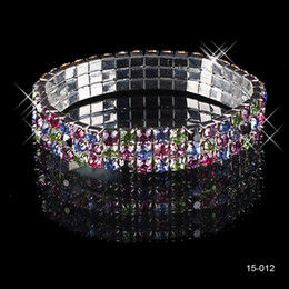 Discount bracelets stones for women 15012 Cheap Beautifui 3 Row Multi-stone Crystal Bangle Wedding Bracelets Bridal Jewelry for Women Party Prom Evening