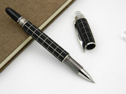 Carbon Fiber Pens Canada - office gift metal Silver Crystal Head Rotate classic carbon fiber black ROLLERball PEN