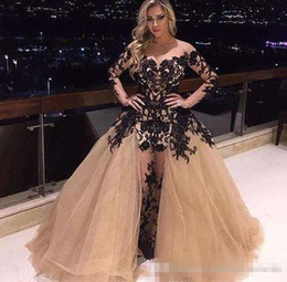 $enCountryForm.capitalKeyWord Canada - Champagne Off Shoulder Prom Dress Gorgeous Detachable Train Black Lace Applique Long Sleeve Party Dress 2017 Plus Size Mermaid Evening Gowns