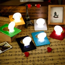 Discount mini cards wallet - Portable Wallet Card Pocket LED Credit Card Night Light Lamp Cute mini card lamps Wedding Holiday Gift Mini Night Light