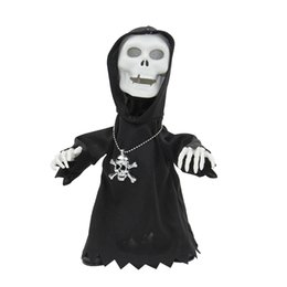 wholesale walking talking light up grim reaper animated death skeleton halloween terror decoration flashing prop toy cheap animated halloween props