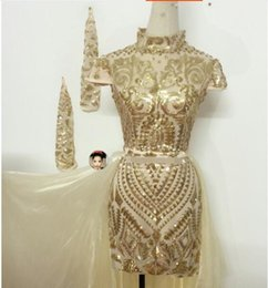 b9008389d Jazz singer dresses online shopping - Female stage Trailing skirt dance  costumes sequins one piece dress