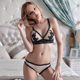 MOXIAN Nude color bra set French water-soluble embroidery sexy ultra-thin  transparent lace without steel underwear triangular A B C D 2045 302fceaa2