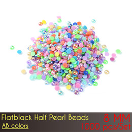 prices pearl jewelry sets NZ - ABS Flat Back Half Pearl Beads 8mm AB Color Nail DIY Jewelry Making Decoration with wholesale price 1000pcs Set