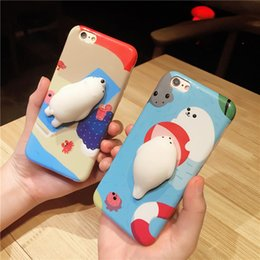 3d Phones Case Cover Canada - Squeeze Cat Cases for iPhone 8 7 6S 6 7Plus Plus 3D Cute Rubber TPU Phone Back Cover for iPhone7 iPhone6 Backcover