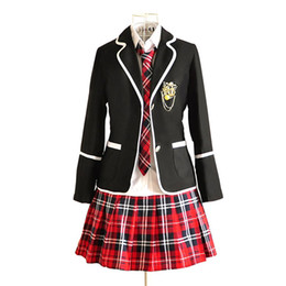 anime clothing styles UK - Malidaike Anime Japan British Style Women School Uniform Suit Set Womens Complete Suit Sailor Clothes Cosplay Costume