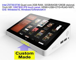 Discount wholesale touch screen tv - 10pcs Custom Made 7inch HD screen Touch panel Dual Boot Android4.4 Windows10 Intel 3735 3736 2GB 32GB IPTV streaming TV