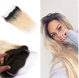 Roots Band Canada - Ombre 360 Lace Frontal Closure With Bundles T1B 613 Blonde Brazilian Straight Hair With 360 Lace Band Frontals Dark Roots Virgin Human Hair