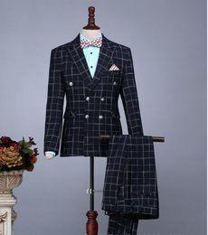 $enCountryForm.capitalKeyWord Canada - Wholesale free shipping 3pc Suit Men Fashion 2017 Business Casual Blazer Set Men Formal Wear Plaid Wedding Dress Suits Male Tuxedos(Jacket+P