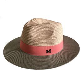 All ingrosso-Moda estate paglia cappello sole grande colore patchwork donne  M lettera panama cappello   cappelli da spiaggia trilby 1b6c25cc3cc1