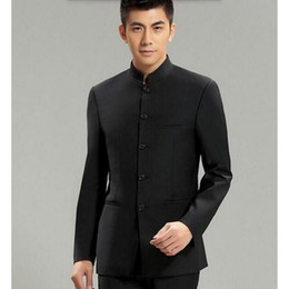 chinese customs 2019 - Wholesale- Chinese Collar Suit Jacket For Men New Mandarin Collar Slim Fit Blazers Male Wedding Jackets high quality cus