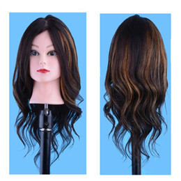 Hairdressing Dolls Canada - 100%Human hair Hair Styling Mannequin Head For Training Professional Styling Head For Makeup Practice Hairdressing Doll Heads + Clamp