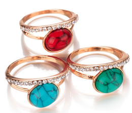 China 3 color Jewelry Vintage Retro Austrian Crystal Agate Jade Big Rings For Women Ring turquoise stone 17 18 19 20 four size Solitaire Ring cheap jade rings size suppliers