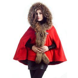 Discount shawls ponchos cape coats - Winter Raccoon Fur Ponchos Coat For Women Hooded Woolen Coats Jacket Warm Parka Jackets Shawl Cape Outwear Grey Camel Re