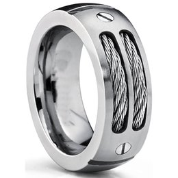 Screw Rings NZ - 8MM Men's Titanium Ring Wedding Band with Stainless Steel Cables and Screw Design Sizes 6 to 15