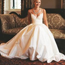 $enCountryForm.capitalKeyWord NZ - Exquisite Lace Ball Gown Wedding Dresses Spaghetti Strap Sweetheart Peplum Pastels Bridal Gowns Sweep Train Zipper Back Wedding Dresses