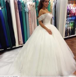 designer princess dresses Canada - Off Shoulder Princess Puffy Bottom Ball Gown Designers 2018 Crystal Beads Organza Wedding Dresses Made In China