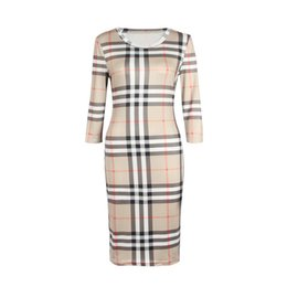 Chinese  2018 New Women Dress Summer O Neck Three Quarter Sleeve Plaid Party Work Business Fashion Designer Dresses Clothing manufacturers
