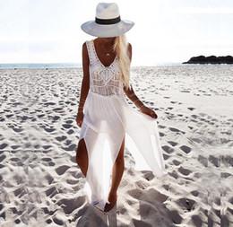 Mini Bikini Tops Canada - New Europe Fashion Women's Beach Dress Handmade Weave Hollow Out Top Chiffon Patchwork Split Dress For Bikini Outerwear Vest Dresses C3041