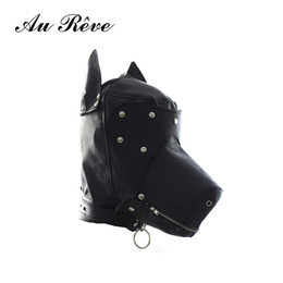 Collares De Perro Correas Servidumbre Baratos-Fetish Leather SM Capucha Dog Mask Head Harness Sexo esclavo Collar Leash Mordaza de la boca BDSM Bondage Blindfold juguetes sexuales para la pareja Au Reve