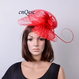 7197482eb58fc NEW Red colour Big sinamay fascinator hat crin fascinator with Feathers for  kentucky derby and wedding.