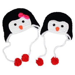 $enCountryForm.capitalKeyWord UK - Adorable Penguin Earflap Pom Pom Hat,Handmade Knit Crochet Baby Boy Girl Twins Animal Hat,Infant Toddler Photography Prop