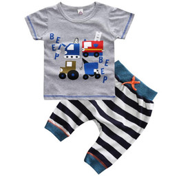 Ensemble De Vêtements Pour Enfants Pas Cher-New Summer Baby Boys Ensemble de vêtements Cartoon Cars Short Sleeve Cotton Tops T-shirt + Stripe Pants 2pcs Kids Set Children Outfits W073