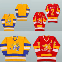 Fighting Canada - Mens Womens Youth 2 Bill Butters Jersey Minnesota Fighting Saints 1972-73 Yellow 1976-77 Red Custom Hockey Jerseys