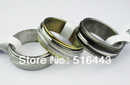 $enCountryForm.capitalKeyWord Canada - Wholesale Jewelry Lots 10pcs Double Layer Spin Stainless steel Men Womens Mix Frosted Bulk Rings A-304