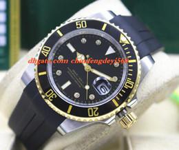 Men Luxury Rubber Watches Canada - Fashion Luxury Rubber Bracelet & SS Diamond Black Ceramic Bezel MINT 40MM Automatic Movement Men Watches New Arrival